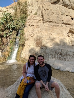 Bo and Kimberly at David Falls, En Gedi
